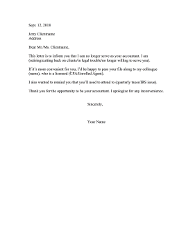 Accountant Withdrawal Resignation Letter