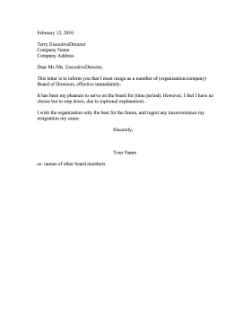 Sample Resignation Letter From Non Profit Board Of