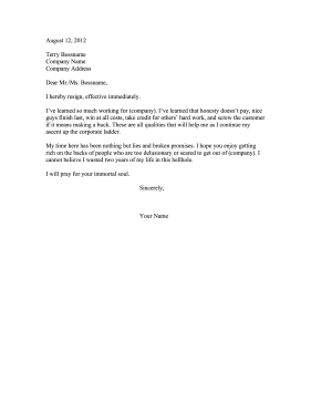 Bridge Burning Resignation Letter Resignation Letter