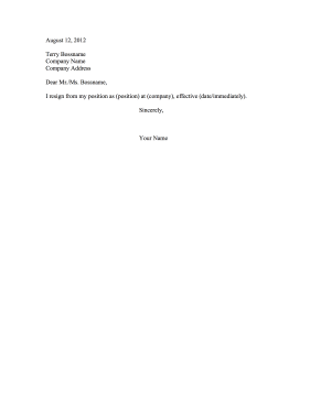 Brief Resignation Letter Resignation Letter