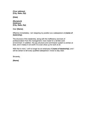Car Salesperson Resignation Letter