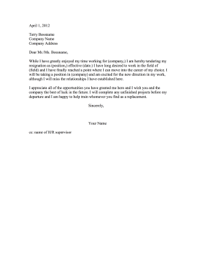 Career Change Resignation Letter Resignation Letter