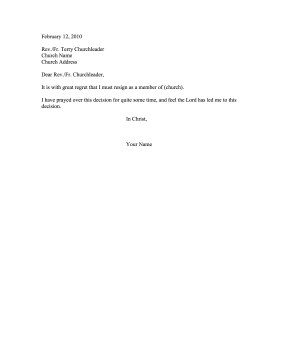 Church Member Letter  Sample Resignation Letters