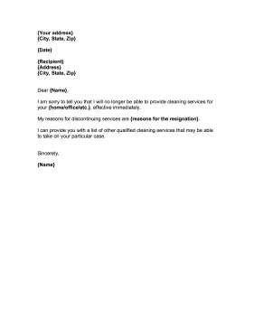 sample letter for cleaning services