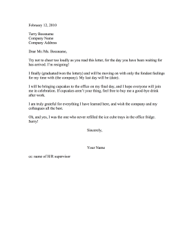 funny resignation letters letter of resignation 12035