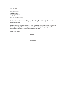 Happy Retirement Resignation Letter Resignation Letter