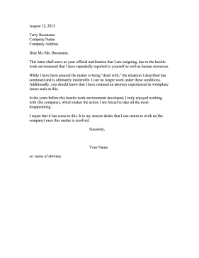 Hostile Environment Resignation Letter Resignation Letter  Example Letter Of Resignation