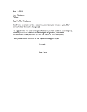 Insurance Agent Withdrawal Resignation Letter