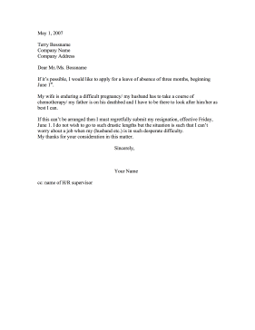 Leave of Absence or Resignation Resignation Letter