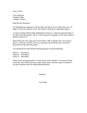 Outstanding Projects Resignation Letter Resignation Letter