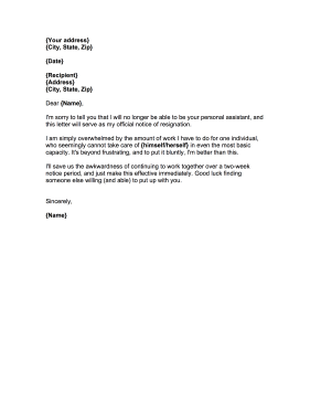 Personal Assistant Resignation Letter Resignation Letter