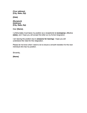 Receptionist Resignation Letter