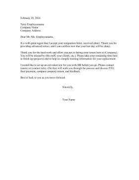Attractive Resignation Letters
