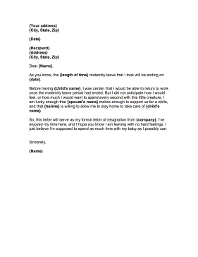 going back to work after maternity leave letter template resignation letter after maternity leave