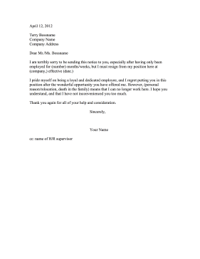 job resignation letter resignation after employment 22648