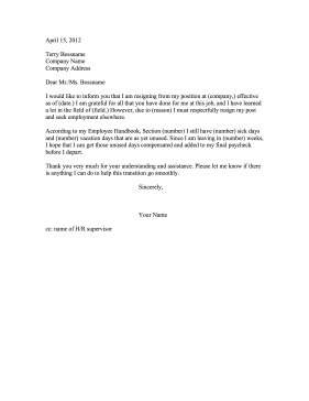 Resign And Ask for Vacation Pay Resignation Letter