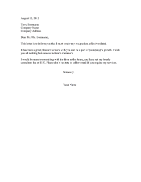 Resignation Letter Available On Contract Basis Resignation Letter