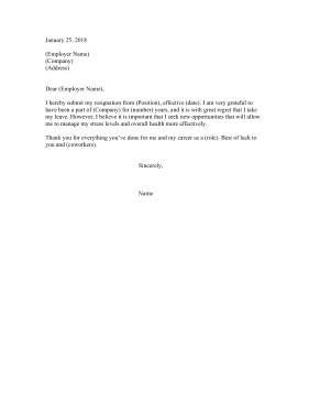 Resignation Letter Because Of Stress Resignation Letter