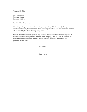 Resignation Letter Bed Rest Resignation Letter