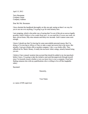 Received Better Offer Resignation Letter Resignation Letter