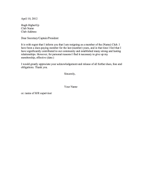 club membership resignation letter