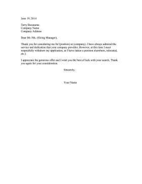 Resignation Letter Decline Job Resignation Letter