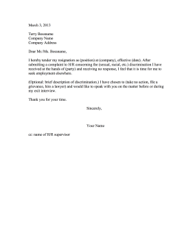 Resignation Due to Discrimination Resignation Letter