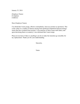 Resignation Letter Due To Conflict Of Interest
