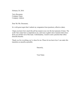 Resignation Letter Due To Insurance Resignation Letter