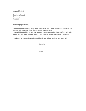 Resignation Letter Due To Scheduling Conflict Resignation Letter