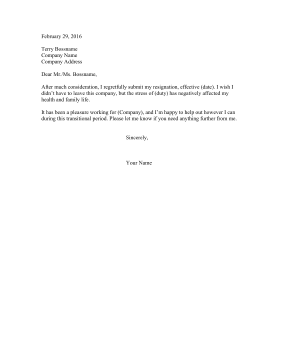 Resignation Letter Due To Stress Resignation Letter