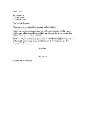 Resignation Letter Due to Death