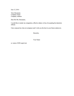 Resignation Letter Due to Demotion Resignation Letter