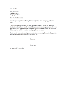 Resignation Letter Due to Lack of Benefits Resignation Letter