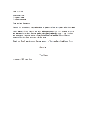 resignation letter due to lack of growth resignation letter