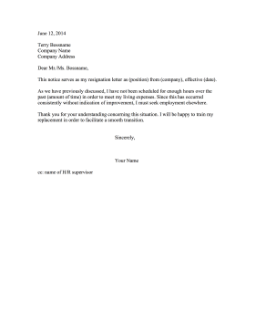 Resignation Letter Due to Lack of Hours Resignation Letter