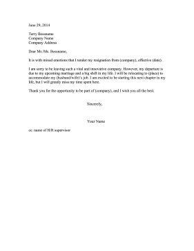 Resignation Letter Due To Marriage