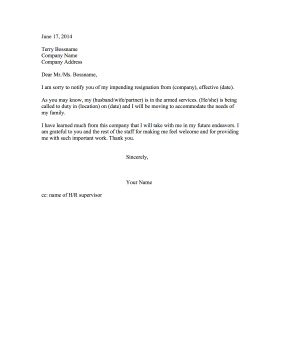 Resignation Letter Due to Military Move Resignation Letter