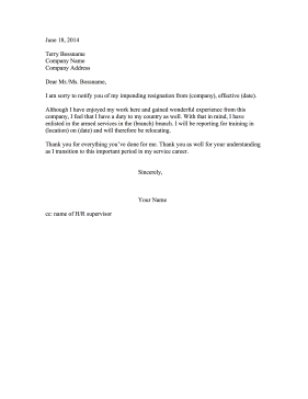 Resignation Letter Due to Military Service Resignation Letter