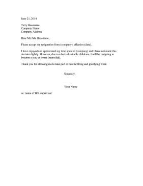 Resignation Letter Due to No Childcare Resignation Letter