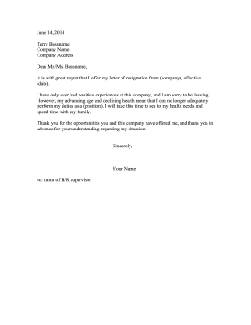 Resignation Letter Due to Old Age Resignation Letter