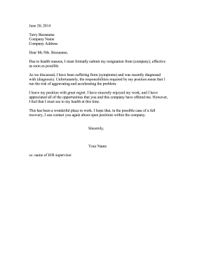 Resignation Letter Due to Poor Health Resignation Letter