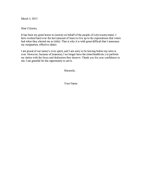 Public Resignation as an Elected Official Resignation Letter