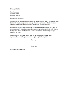 Resignation Letter Family Illness