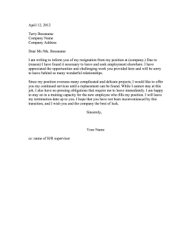 Resignation Letter With Flexible End Date Resignation Letter