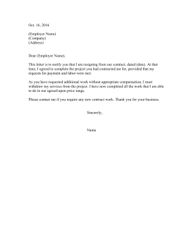 Resignation Letter From Contract Position Resignation Letter