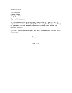 Resignation Letter From New Job Resignation Letter