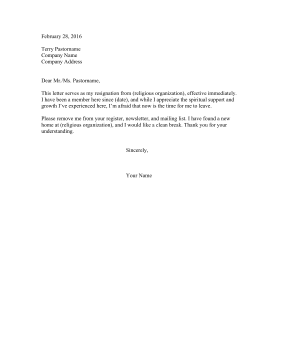 Resignation Letter From Religion Resignation Letter