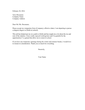 Resignation Letter From Summer Job Resignation Letter