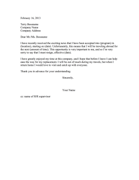 Resignation letters letter of resignation templates going abroad expocarfo Image collections